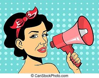hukiem, czerwony, używając, sztuka, mówiąc, kobieta, megafon
