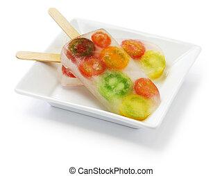 hukiem, lód, barwny, pomidory, veggie