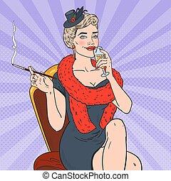 hukiem, wektor, fatale., retro, ilustracja, sztuka, kobieta, palenie, kobieta, szampan., szkło