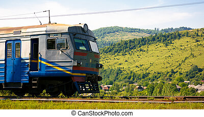 ancient electric train arrival - Huklyvyi, Ukraine - 20 Jul,...