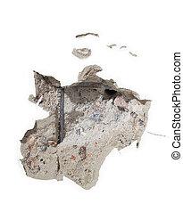 hul, på, beskadig, sten