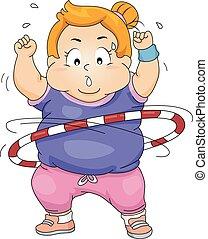 hula の たが, 脂肪, 女の子, 練習, 子供