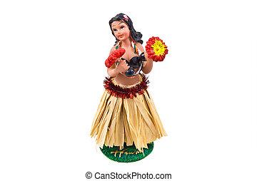 hula, bambola, isolato, wiggler, cruscotto, bianco