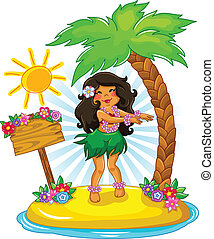 hula girl - girl dancing hula on a tropical island