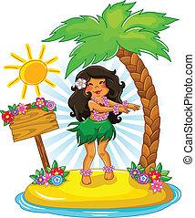 hula girl - girl dancing hula on a tropical island