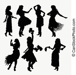 Hula girl hawaiian silhouettes - Hawaiian hula girl. Posing,...