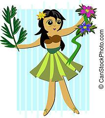 Hula Girl with Plants