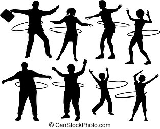 Hula hoop people - Set of editable vector silhouettes of...