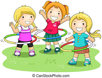 Hula hoops - Girls playing Hula Hoops with Clipping Path