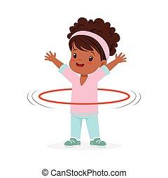 hula, intorno, colorito, spining, cerchio, carattere, illustrazione, sport, vettore, ragazza, vita, capretto