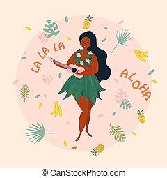 Hula singer hawaiian girl with ukulele. Luau