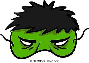 Hulk mask, illustration, vector on white background.