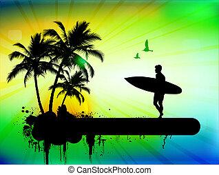 hullámlovas, háttér, tropikus