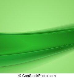 hullámos, elvont, ábra, háttér., vektor, zöld