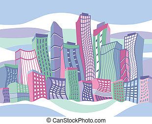 hullámos, karikatúra, város