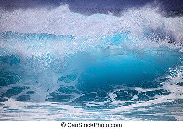 hullámtörés, surges, ellen, tengerpart, oahu, megrohamoz