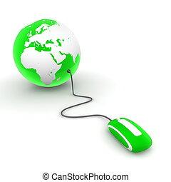 hullámtörés, világ, -, zöld, áttetsző