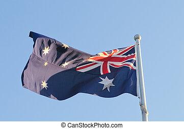 hullámzás, ausztrália, nemzeti lobogó, alatt, windy nap