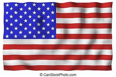 hullámzás, egyesült, usa, jelkép, lobogó, america., egyesült államok, állam, csillaggal díszít, stripes.