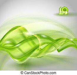 hullámzás, elvont, zöld háttér