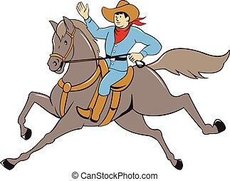 hullámzás, lovaglás, ló, karikatúra, cowboy