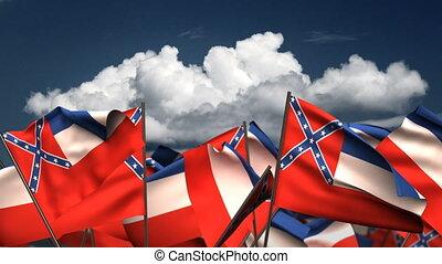 hullámzás, mississippi, állam, zászlók
