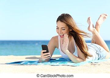 hullámzás, telefon, video, tizenéves, közben, örömlány, furfangos, megüresedések