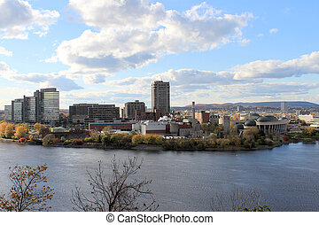 View of buildings of Hull, Ontario from Parliament Hill, Canada