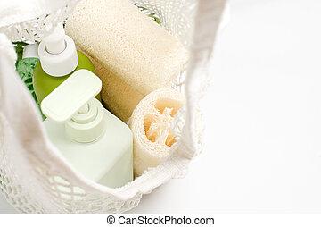 hulladék, konténer, bag., zöld, luffa, sampon, vagy, természetes, friendly., folyékony, zéró, luffa, conditioner, termékek, eco, szappan, mosogatórongy, szivacs, választás, szépség, növényi, műanyag
