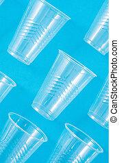 hulladék, motívum, csészék, műanyag, eldobható