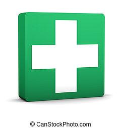 hulp, eerst, groene, meldingsbord
