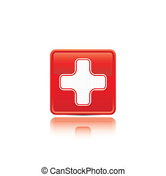 hulp, medisch, button., eerst