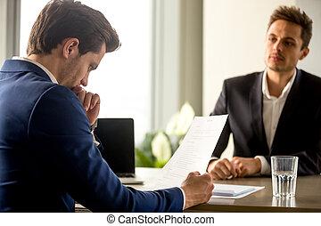 hulpbron, hervatten, succesvolle , bekwaam, directeur, jo, analyzing, menselijk