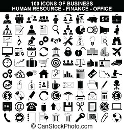 hulpbron, set, financiën, de pictogrammen van het bureau, ...