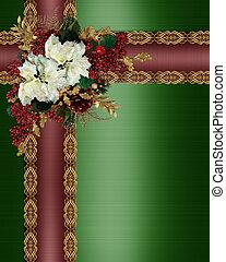 hulst, bloemen, grens, kerstmis, linten