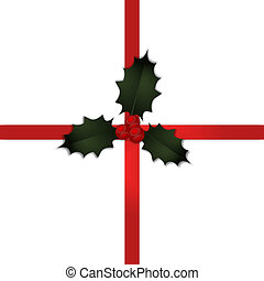 hulst, cadeau, kerstmis, lint