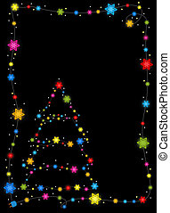 hulst, frame, boompje, kerstmis