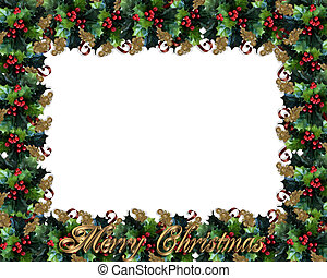 hulst, frame, grens, kerstmis