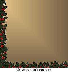 hulst, grens, -, kerstmis, goud
