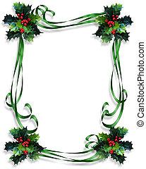 hulst, grens, linten, kerstmis