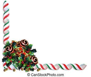 hulst, grens, ornament, kerstmis