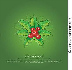 hulst, groene, kerstmis, tak