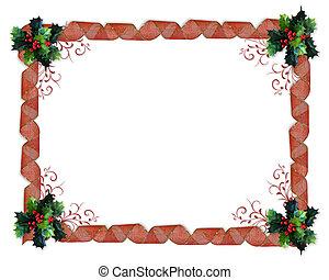 hulst, kerstmis, grens, linten