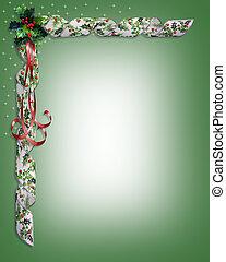 hulst, kerstmis, linten, grens
