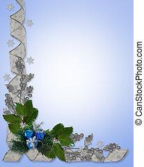 hulst, linten, grens, kerstmis