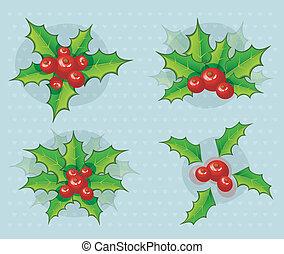 hulst, set, kerstmis, tak