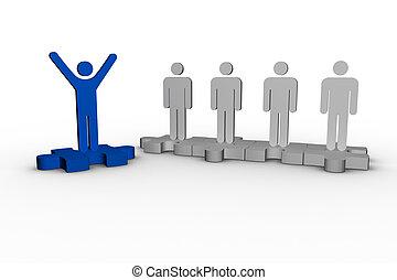 humain, élévation, sur, formulaire, j, bleu, bras