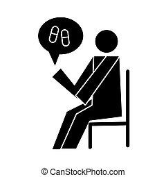 humain, assis, chaise, capsules, style, santé, pictogramme, silhouette