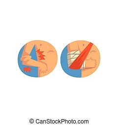 humain, autour de, main, illustration médicale, mal, coude, vecteur, bandage, fond, emballé, aide, blanc, blessure, entorse, premier