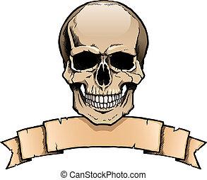 humain, bannière ruban, coloré, crâne